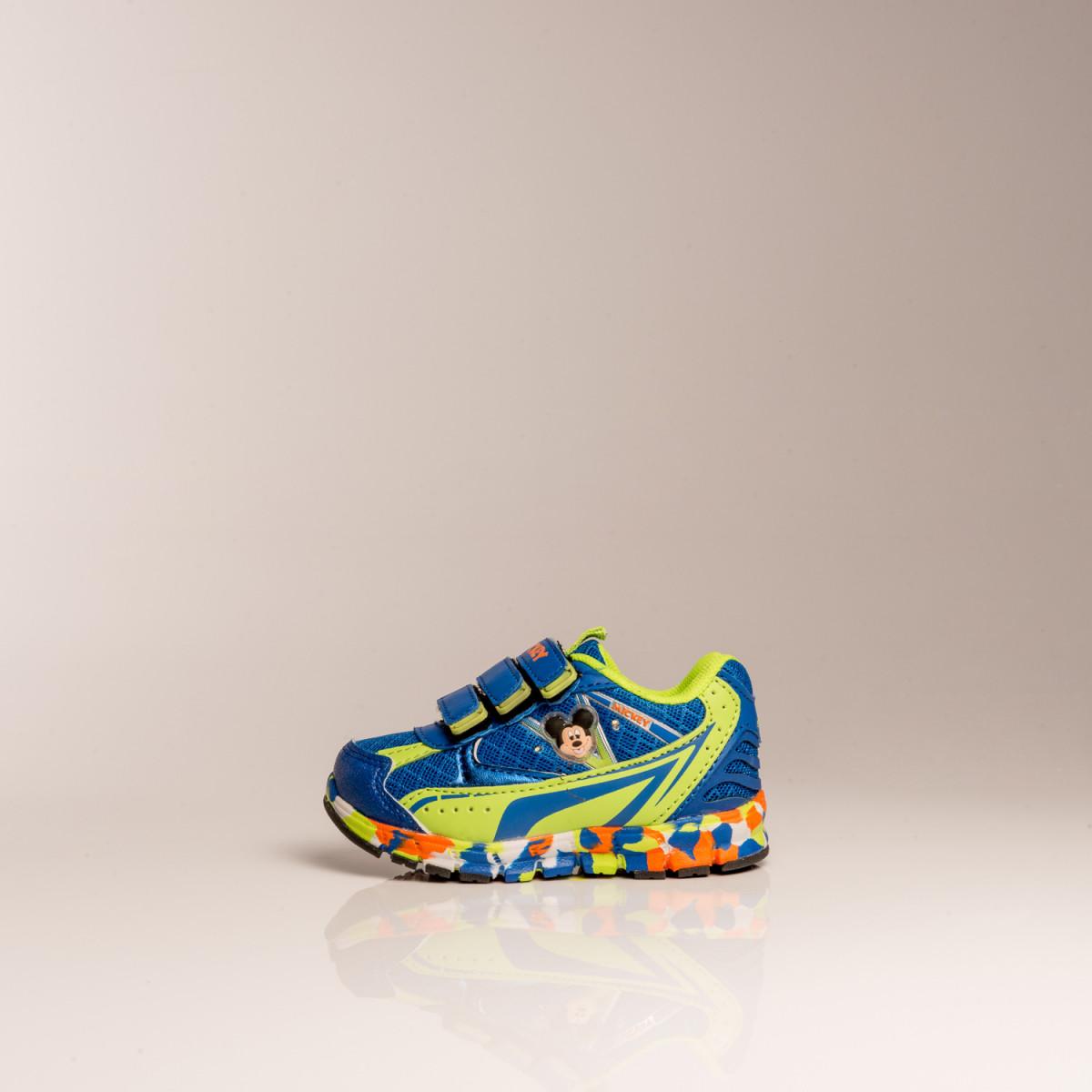 Zapatillas Disney Sport Multicolor Mickey Rbl Con Velcro Y Luz